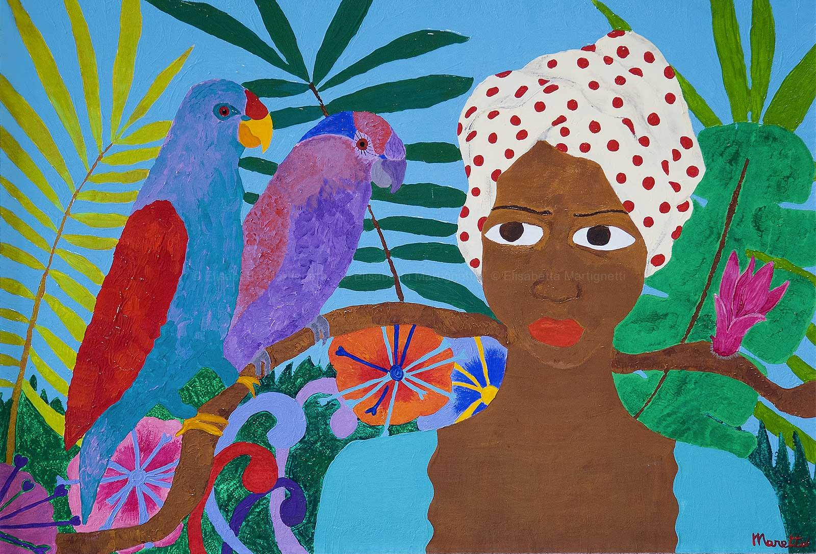 Woman with parrots- Acrylic on board 22x20 inch Sold